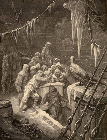 Engraving of scene by Dore of Rime of the Ancient Mariner, showing sailor shrinking from albatross.