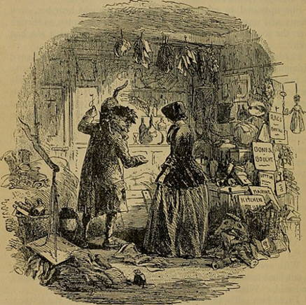 Original illustration from Bleak House by H. K. Brown showing Esther meeting Mr. Krook.