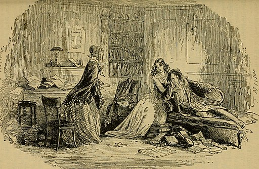 Original illustration from Bleak House showing angry Richard Carstone on sofa next to Ada near Esther.