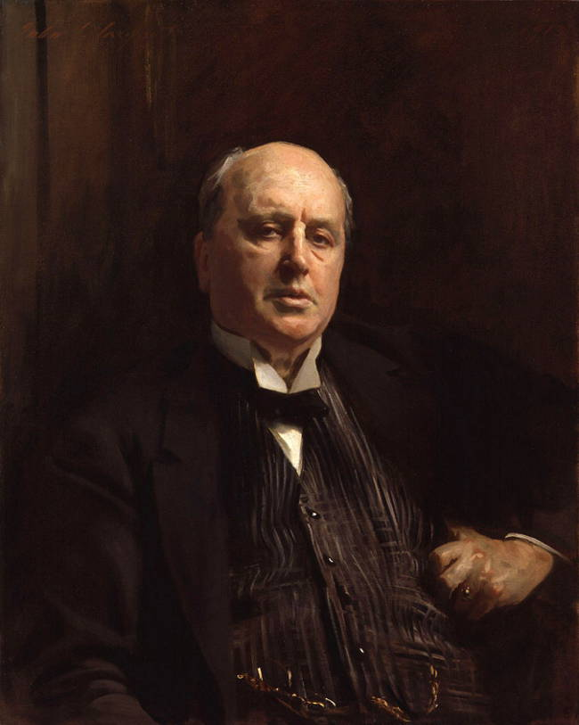 Reprint of portrait of Henry James by John Singer Sargent, showing James against dark background looking somewhat skeptically toward the viewers.
