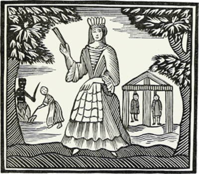 B & W print of woodcut or engraving showing 18th century woman with fan. Farm workers and hanging men in background.