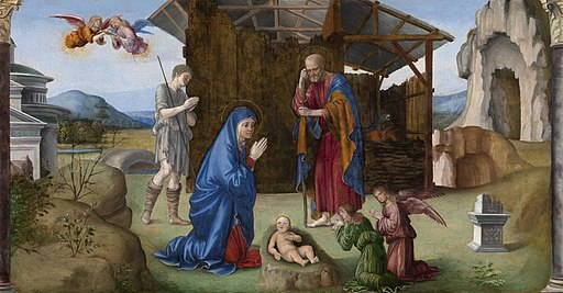 Painting showing Nativity of Christ. Baby in manger center bottom, Mary and Joseph with folded hands behind and to left and right of baby. Small angels kneeling in foreground.