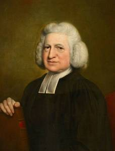 Painting of 18th century man with powdered hair and clerical tie.