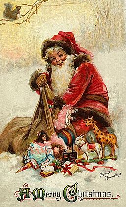 Vintage Christmas card showing jolly Santa figure sitting on snow and taking toys out of a huge sack.