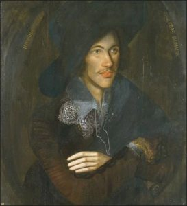 Painting of seventeenth century young man with black hat, wide brim, and small mustache.