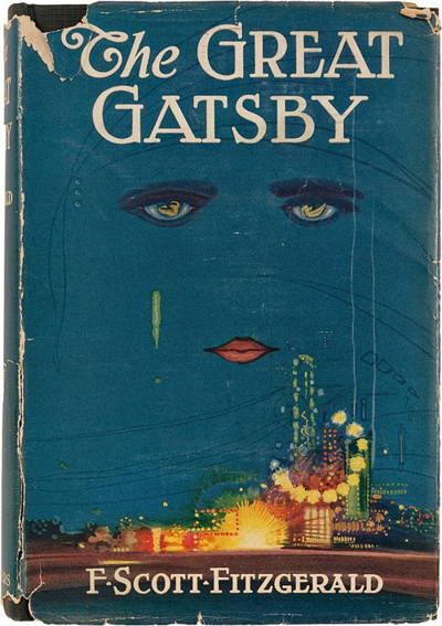 "1925 Cover of ""The Great Gatsby, which relies on modernist-style characterization techniques."