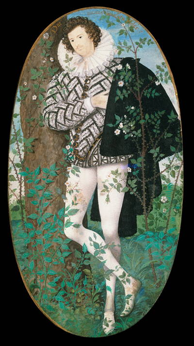 Full length painting of handsome young man in English Renaissance attire.