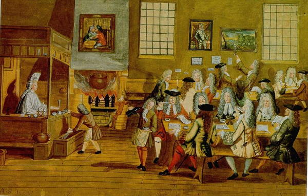 Interior of a London Coffeehouse in the 17th century by an unknown painter. English Renaissance Literature is as lively and varied as the patrons of the shop.