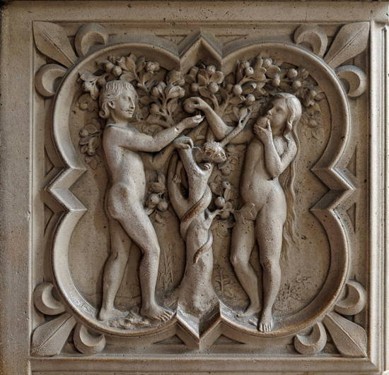 Freize Détail of the Sainte Chapelle (Boulevard du Palais Paris, France), yet another view of Adam and Eve tempted by the serpent.
