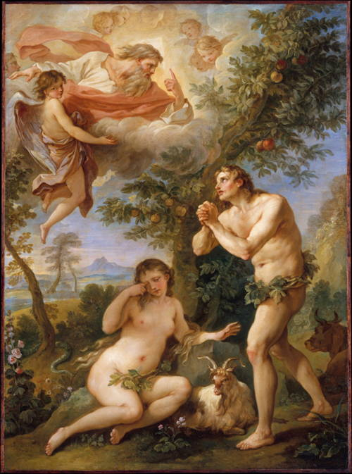 Paradise Lost depicts the same episode from Genesis as this painting, showing God rebuking Adam and Eve for eating of the fruit of the tree of knowledge of good and evil.