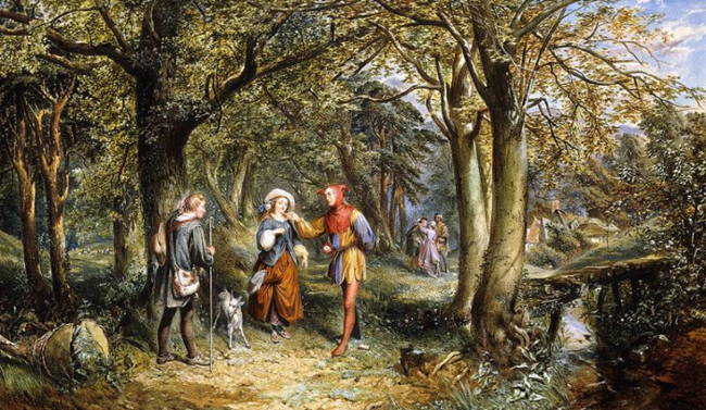 Shakespeare's As You Like It characters painted in forest scene.