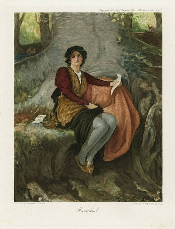 Painter's idea of Rosalind dressed as the boy Ganymede in Shakespeare's As You Like It