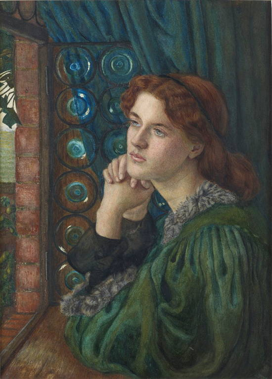 Pre-Raphaelite style painting from 1867 by Marie Stillman depicting Tennyson's Mariana, long red hair gazing out an open casement, wearing green robe.