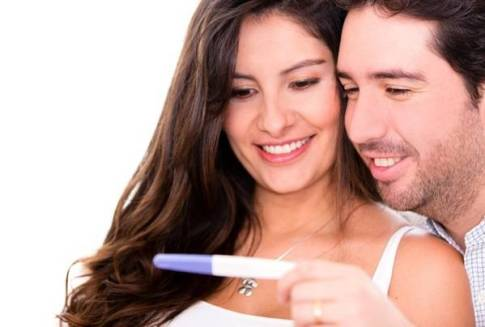 Couple taking a pregnancy test