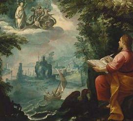 John writing Revelation on Patmos