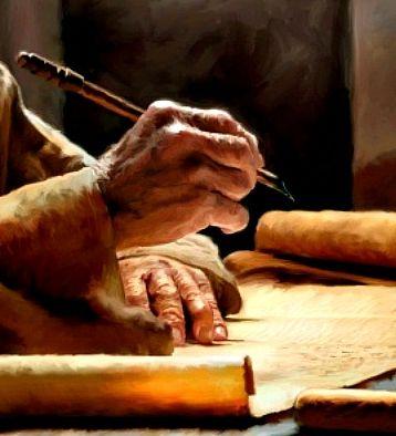 Scribe writing a scroll
