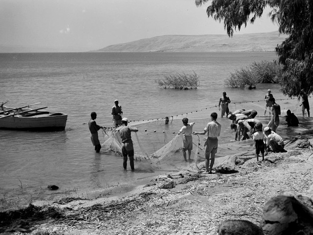 Fishing on the sea of Galilee with a dragnet