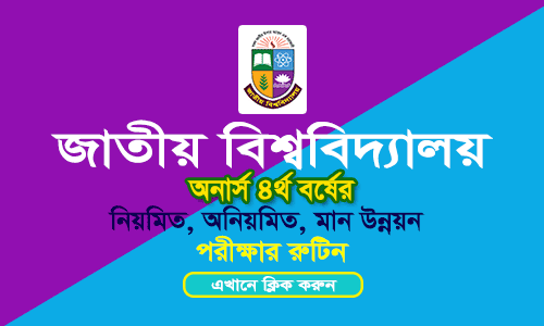 NU Honours 4th Year Exam Routine 2018