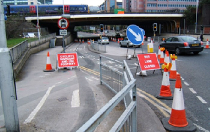 Roadworks not suitable for cyclists