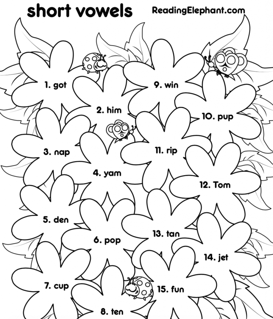 Short Vowel Worksheets For Kindergarten Flowers Pdf