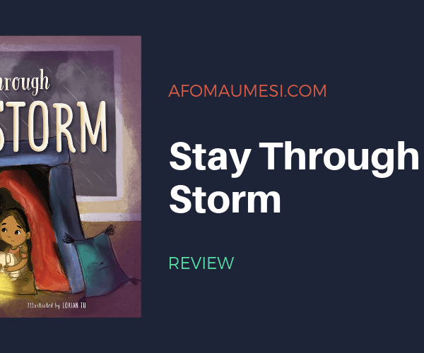 graphic with cover of stay through the storm picture book