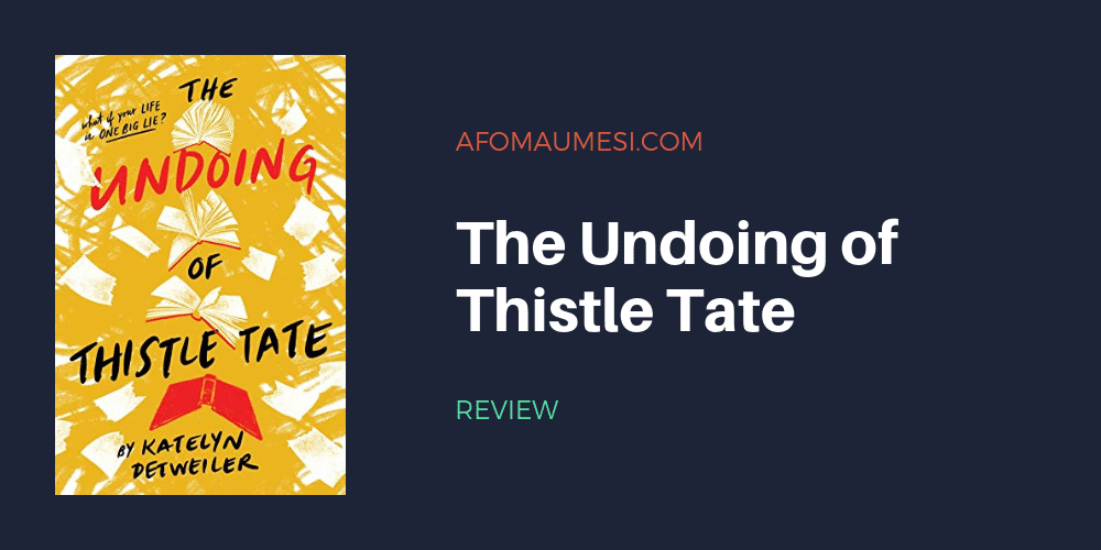 graphic with cover of the undoing of thistle tate