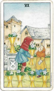 rider-waite tarot six cups card