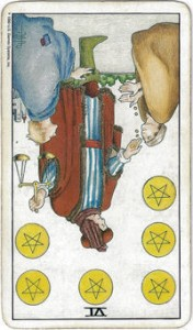 rider-waite tarot six pentacles card reversed