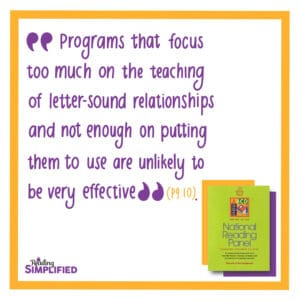 decoding quote from National Reading Panel report