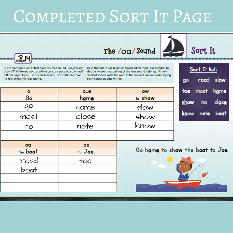 Sort It page for advanced phonics