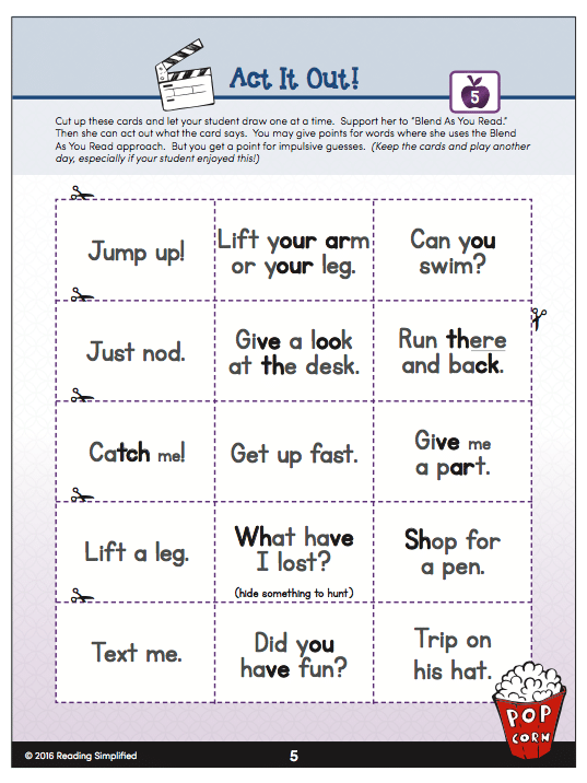 Act It Out reading game