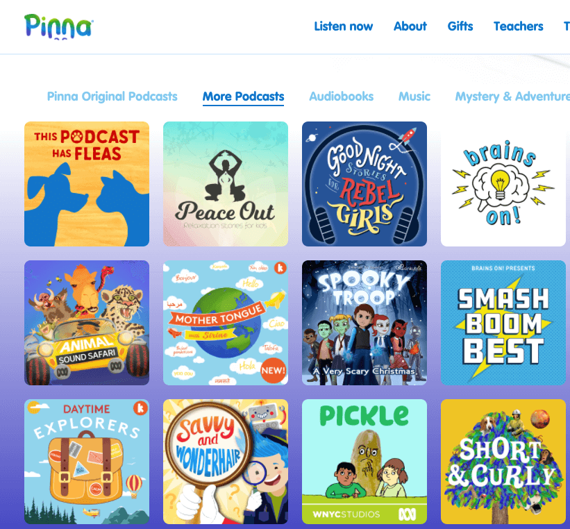 Pinna podcasts and audiobook home page