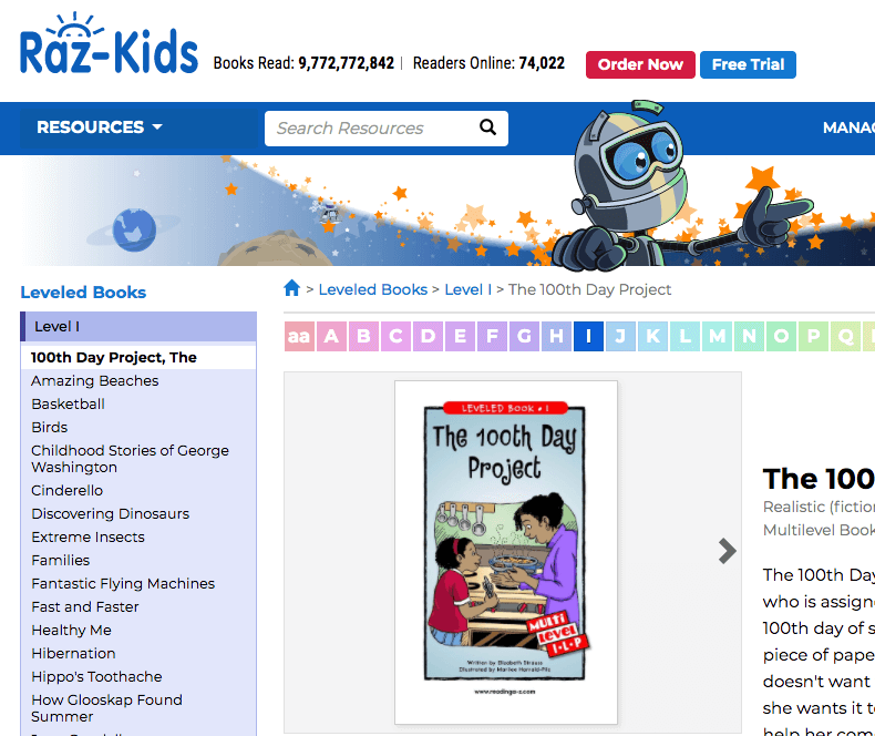 raz-kids read along website