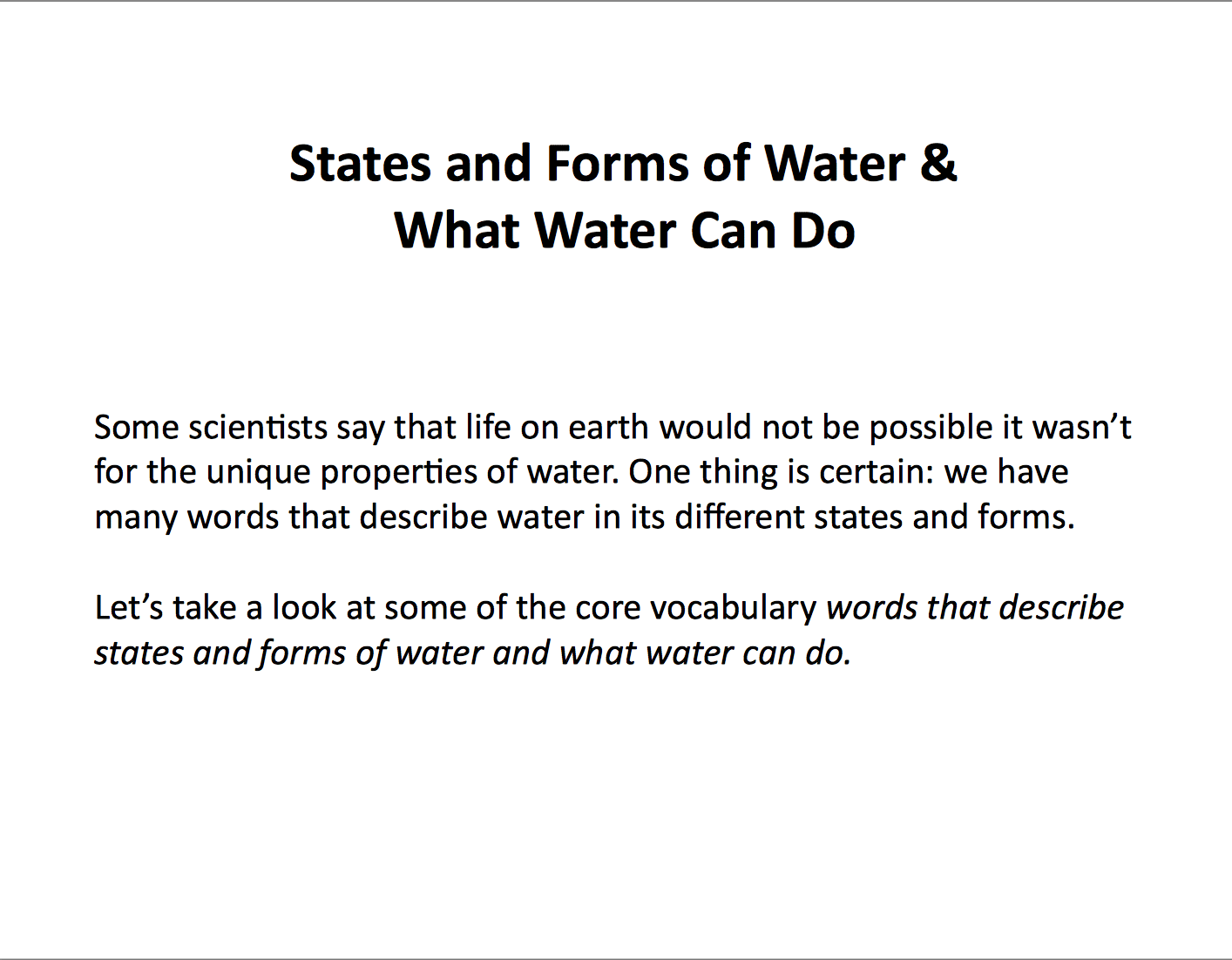 States and forms of water