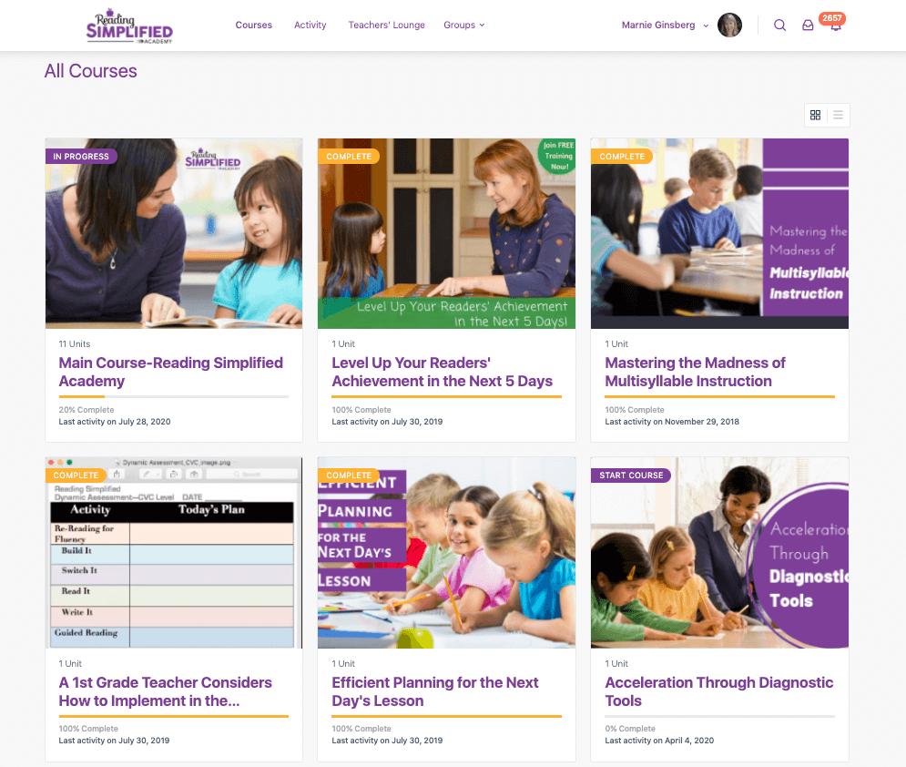 Reading Simplified Academy home page