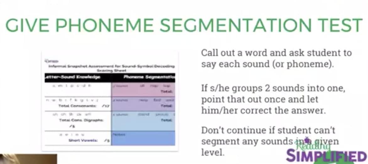 Phoneme segmentation Test