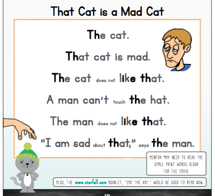 Mad Cat decodable text image