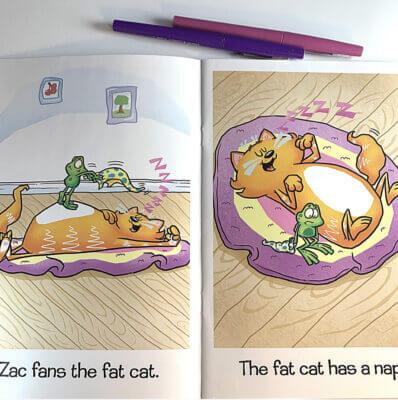 Whole Phonics Zac fans the fat cat image