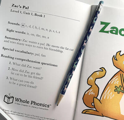 Whole Phonics Zac's Pal book content
