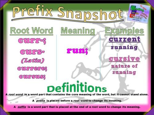 curr-; curs- Prefix Snapshot