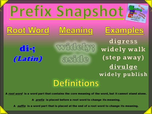 di- Latin Prefix Snapshot