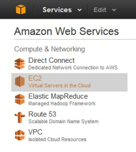 Select the EC2 Web Service