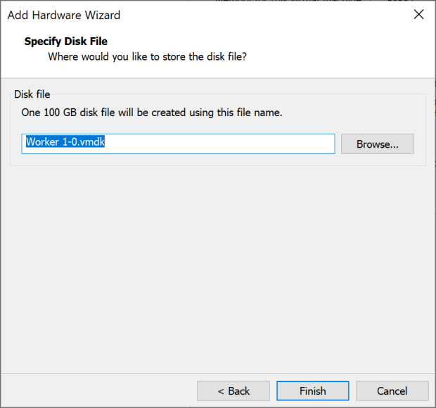 Specify disk file