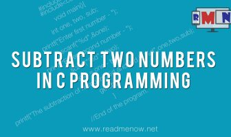 subtract two numbers in c