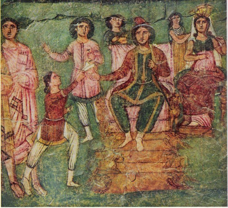 Артаксеркс на троне, сцена из Свитка Эстер. Фреска в синагоге Дура-Европос