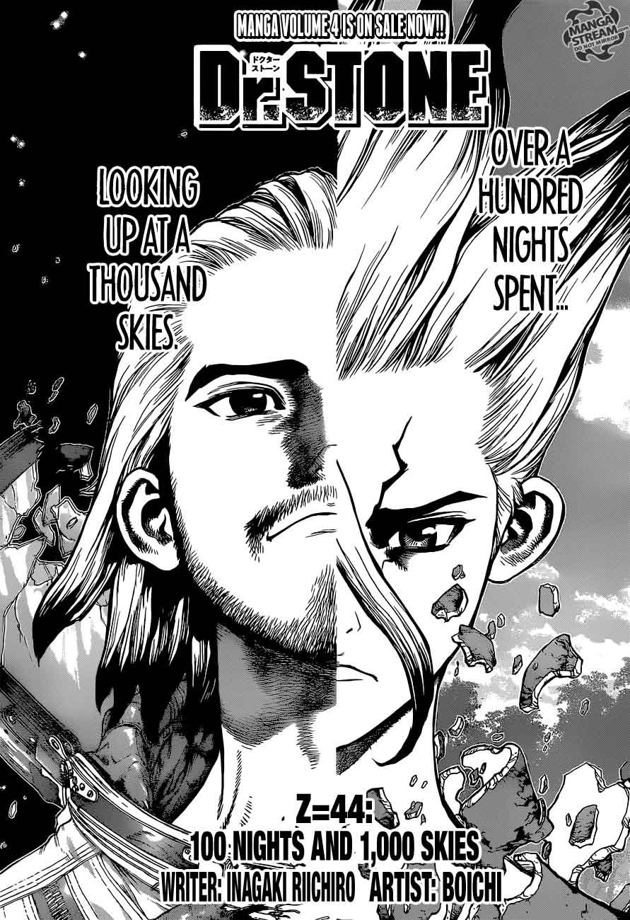 Dr. Stone : Chapter 44 - 100 Nights and 1,000 Skies image 001