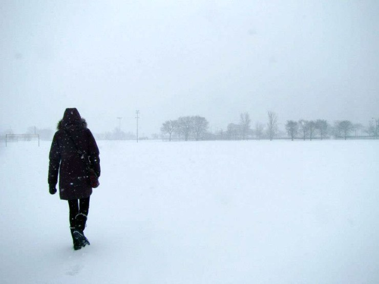A person in a black jacket and snow boots slogging through the snow in Chicago