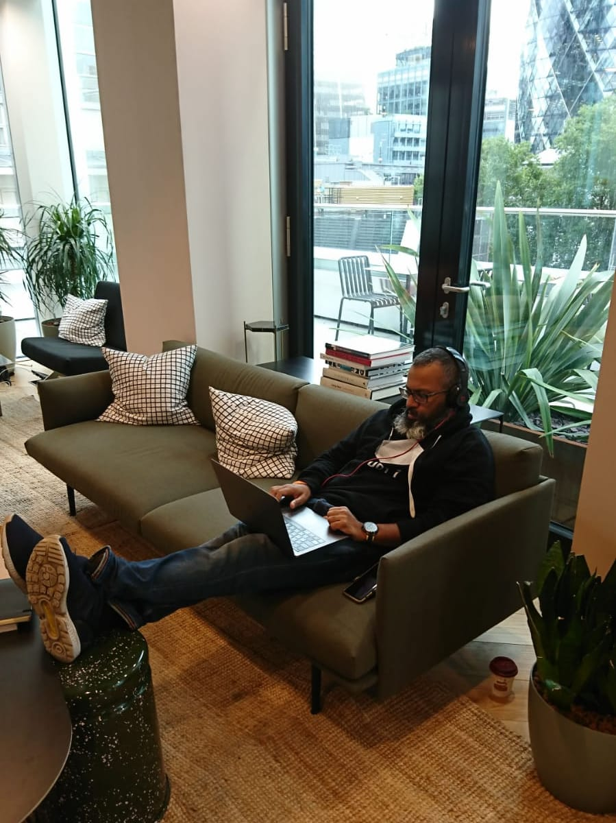 Wework office Faraz Fookeer in his cosy hoodie