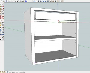 Make a rectangle the size of the door or drawer opening