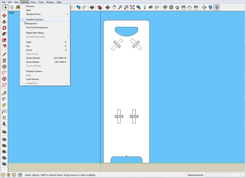 Print full size patterns from sketchup readwatchdo navigate to one of the standard views and switch from perspective to parallel projection malvernweather Choice Image